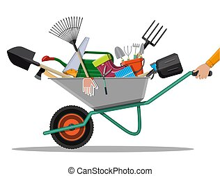 équipement, set., jardinage, outils jardin
