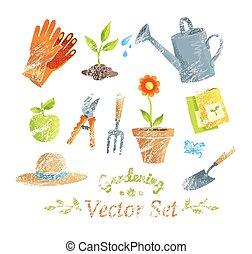équipement, set., vecteur, jardinage