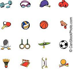 équipement sports, ensemble, dessin animé, icônes