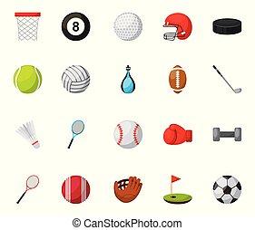 équipement, sports, paquet, icônes