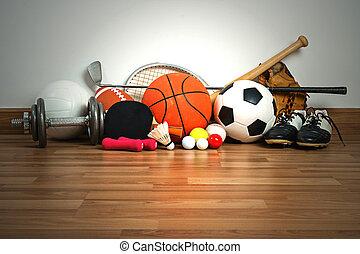 équipement sports, sur, bois, fond