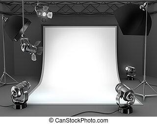 équipement, studio photo, arrière-plan.