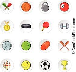 équipement, style, sport, icônes, dessin animé