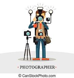 équipement, super, photographe