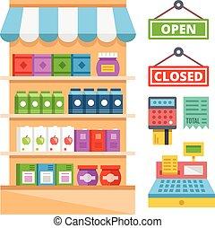 équipement, supermarché, étagères