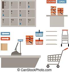 équipement, supermarché