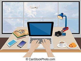 équipement, symbole, bureau, main