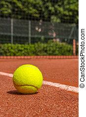 équipement,  tennis, tribunal, argile