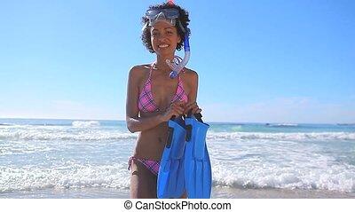 équipement, tenue, snorkeling, gai, brunette