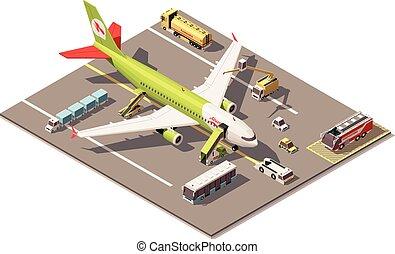 équipement, terrestre, vecteur, poly, bas, aéroport, avion, soutien, véhicules, tablier, isométrique