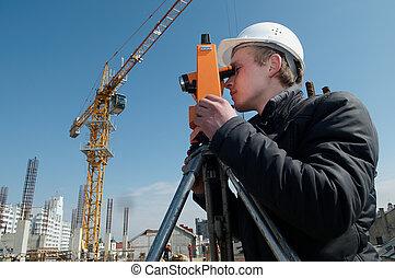 équipement, transit, niveau, arpenteur