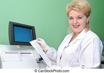 équipement, utilisation, monde médical, scientifique, femme