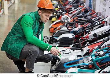 équipement, vérification, ouvrier, marché