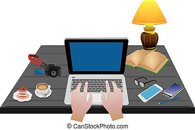 équipement, vecteur, conception, bureau