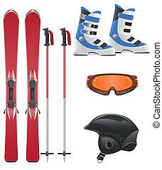 équipement, vecteur, ensemble, icône, ski