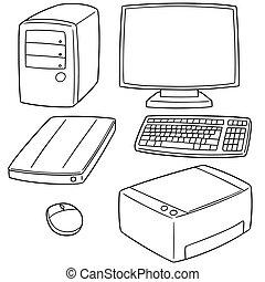 équipement, vecteur, ensemble, informatique