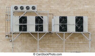 équipement, ventilation, multiple, rotatif, refroidisseurs