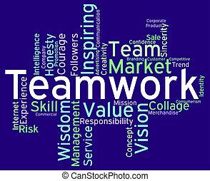 équipes, moyens, collaboration, mots, unité, unité