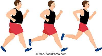 équipez course, perte, poids