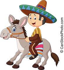 équitation, âne, hommes, mexicain