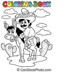 équitation, âne, livre coloration, homme