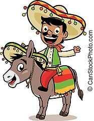 équitation, âne, mexicain, homme