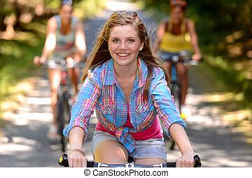 équitation, adolescent, vélo, amis, girl