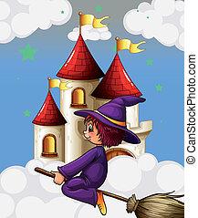 équitation, balai, sorcière, château