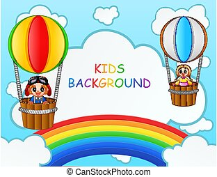 équitation, balloon, chaud, enfants, air, arc-en-ciel