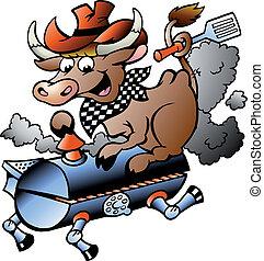 équitation, baril, vache, barbecue