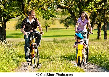 équitation, bicycles, famille, été