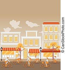 équitation, bicycles, rue., gens
