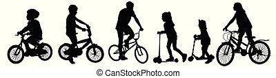 équitation, bicycles, scooters, silhouettes, enfants
