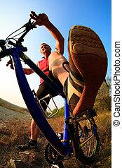 équitation bicyclette, nature, homme