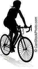 équitation bicyclette, vélo, silhouette, femme, cycliste