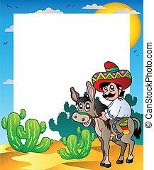 équitation, cadre, mexicain, âne