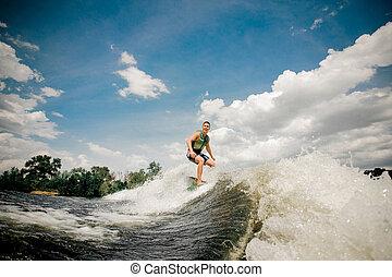 équitation, canot automobile, wakeboard, élevé, surfeur, vague