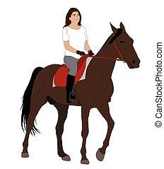 équitation, cheval, 2, femme