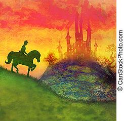 équitation, cheval, château, prince