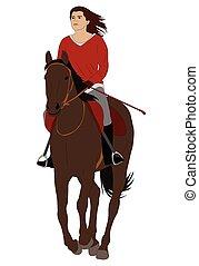 équitation, cheval, femme, 4