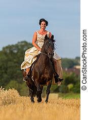 équitation, cheval, femme, andalusian, mûrir
