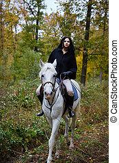 équitation, cheval, femme, forêt
