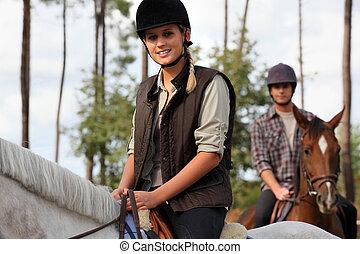 équitation, cheval, femme, homme