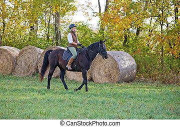équitation, cheval, femme