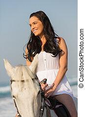 équitation, cheval, femme, jeune, sourire