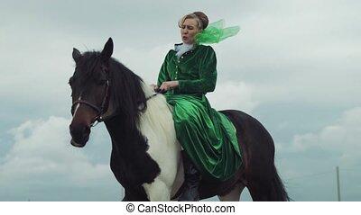 équitation, cheval, femme, procès vert