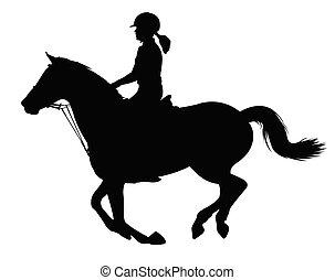 équitation, cheval, femme, silhouette, jeune