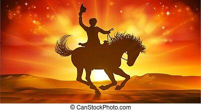 équitation, cheval, fond, cow-boy, silhouette, coucher soleil
