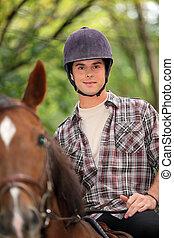 équitation, cheval, jeune homme