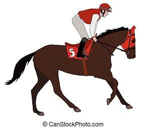 équitation, cheval, jockey, 5, course